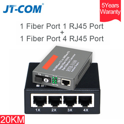 1 Pair Fast Ethernet Media Converter 10/100M Fiber Optic Switch SC Port Single Mode Transceiver FTTH RJ45 to Optical 20KM SM SX