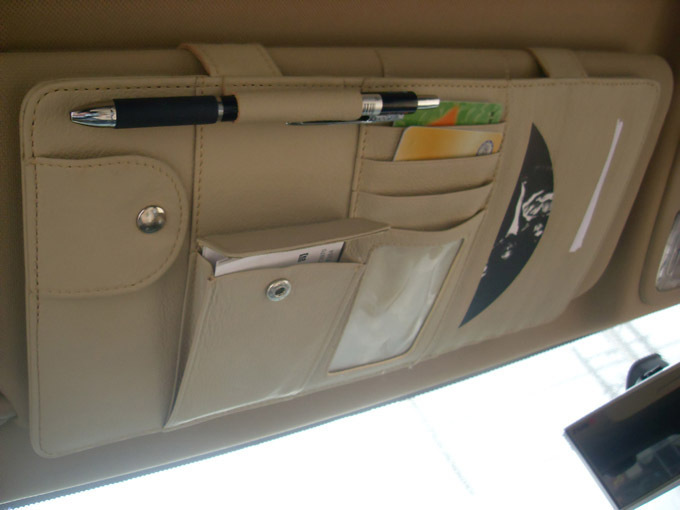 Car Interior Sun Visor Multifunction Leather Board Clip CD DVD Bags Car Disc Folder Pocket Car Stowing Tidying Beige