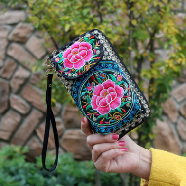 Flap-Bags Wallet Embroidery Flowers Day-Clutch Handmade Long Women Fashion Hot