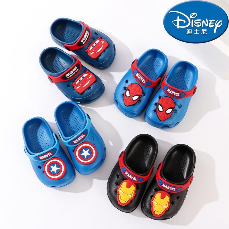 Disney Spider-man Baby Slippers Summer 1-6 Years Old Children's Hole Shoes Non-slip Beach Swim Slippers Kids
