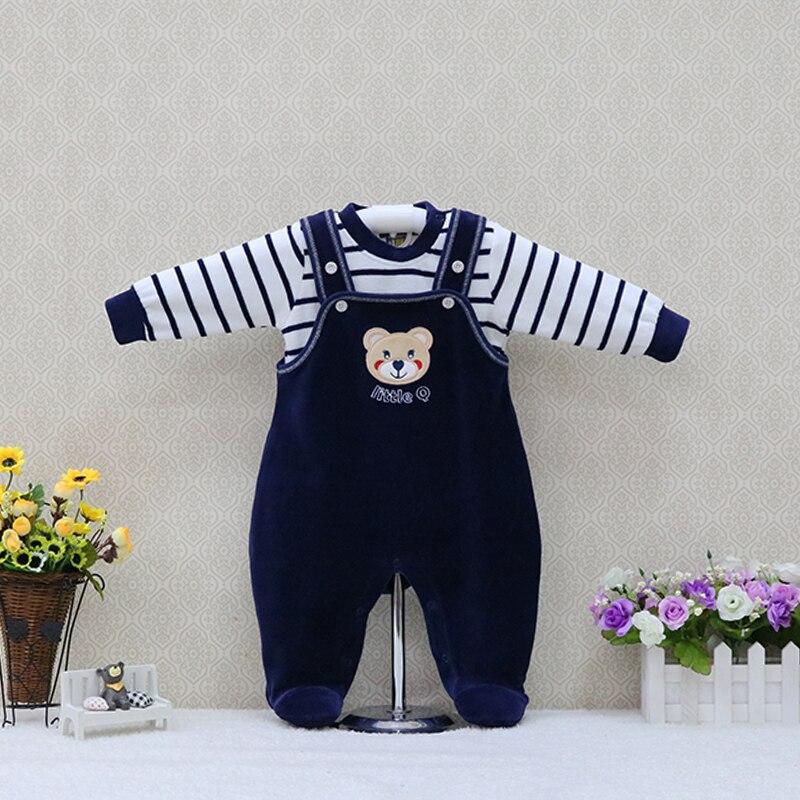 סתיו אביב קטיפה kidswear ילדי outfis ילדים ארוך שרוול חולצה + חתיכה אחת Rompers מסיבת חליפות 2 יח'\סט תינוק בגדים