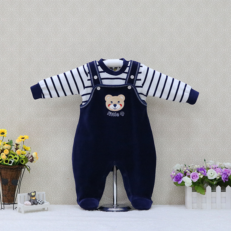 Autumn and Spring Velour kidswear children outfis kids long sleeve blouse One Piece Rompers party suits