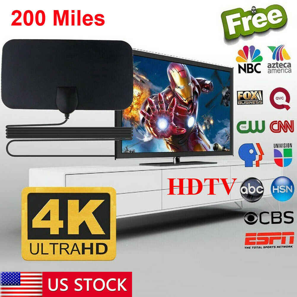 Antena de alcance de 200 millas Smart TV Digital HD Skywire 4K antena de interior HDTV 1080p amplificador