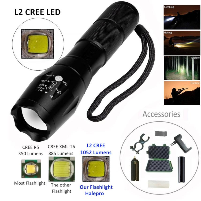 2018 Zoomable XML L2 LED Tactical Flashlight+18650 Battery+Holder+Charger+Case Free Drop Shipping F16