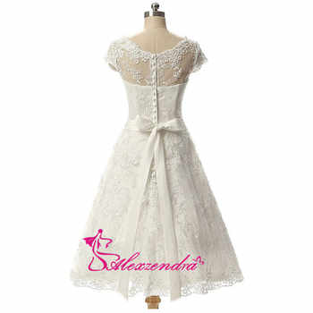 Alexzendra Vintage Short Wedding Dress Knee-Length Lace Bridal Gow A Line Bridal Gowns vestido de noiva