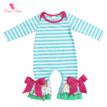 Kaiya Angel Newborn Floral Apple Green White Striped Cotton Jumpsuit Baby Boy Girl Spring Summer Autumn Toddler Overalls Rompers