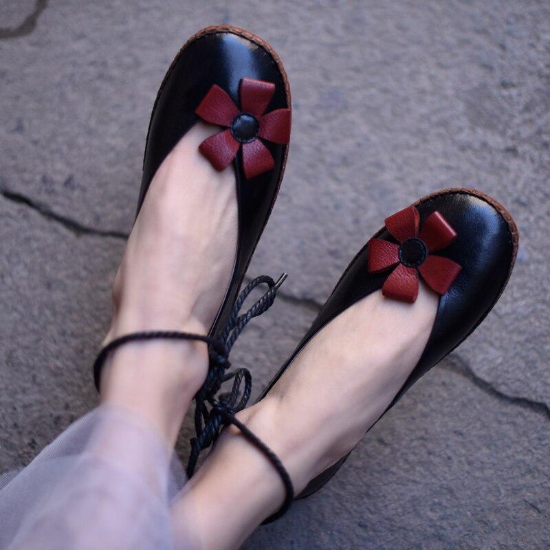 Handmade sapatos baixos mulher ballet flats mulheres sapatos de couro genuíno casuais cabeça redonda com tira no tornozelo sapatos femininos em preto e branco