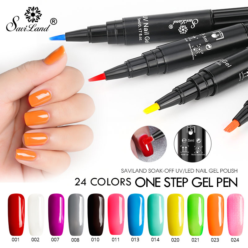 Saviland One Step Gel 3 In 1 UV Nail Polish Pen Nail Art Soak Off UV LED Nail Lamp Shining Glitter Gel No Need Top Base Coat nail polish pen