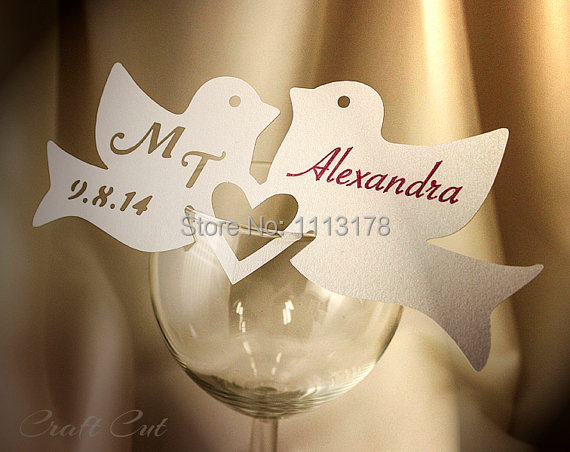 two hearts one love wedding decorations two birds wedding place cards 20 personalized 8138