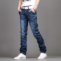 Man Pants Fashion 2016 Ripped Jeans Network Burst Models Slim Deinm Pants Men S Blue Straight