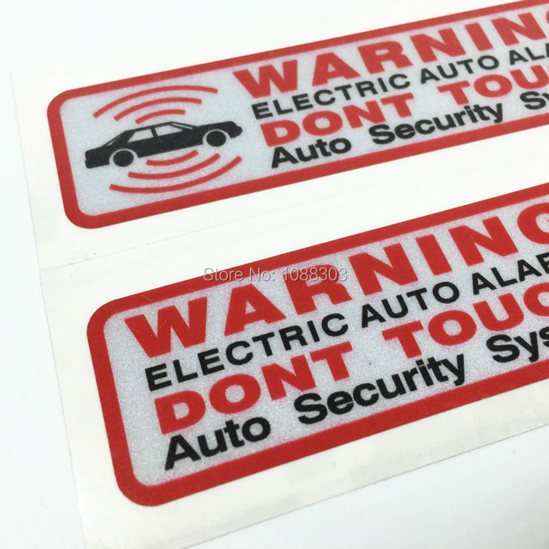 1 pair 3M Good Quality Car Motorcycle Sticker Decals Cartoon Warning ELECTRIC AUTO ALARM DONT TOUCH