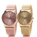 Leitoso Forma Das Mulheres Warch Ouro Clássico Quartz Stainless Steel Wrist Relojes Hombre relógio Dos Homens de los hombres de muestras DEC12
