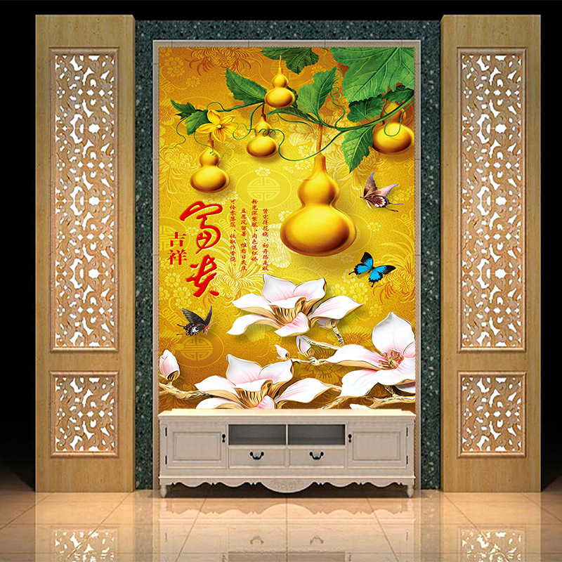 Custom 3d Golden Gourd Vivid Floral And Butterfly Mural Wallpaper Decor For Living Room Tv Wall Sitting Room Porch Wall