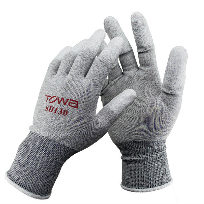 TOWA Large SH130 Anti-static Gloves Tip Of The Finger Coating Breathable Nylon Safety Gloves