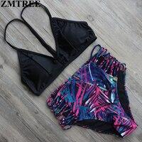 ZMTREE Bikini 2017 Set Sexy Bandage Brazilian Bikinis Women Swimwear Push Up High Wiast Swimsuits Bathing