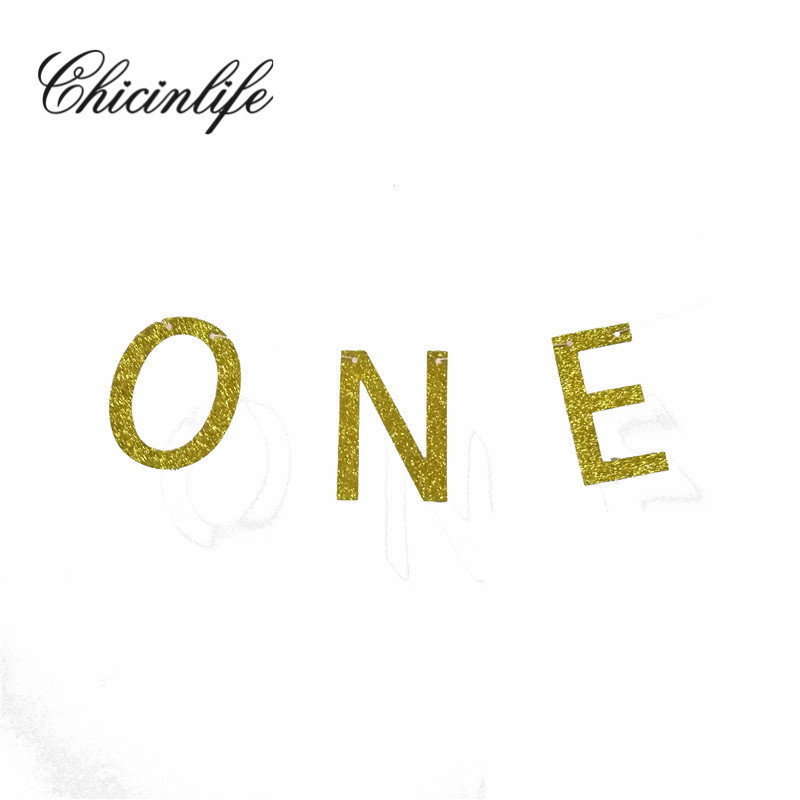 Chicinlife 3Pcs happy birthday Glitter gold ONE Banner baby party decorations Photo Booth Props Garland baby Shower decoration