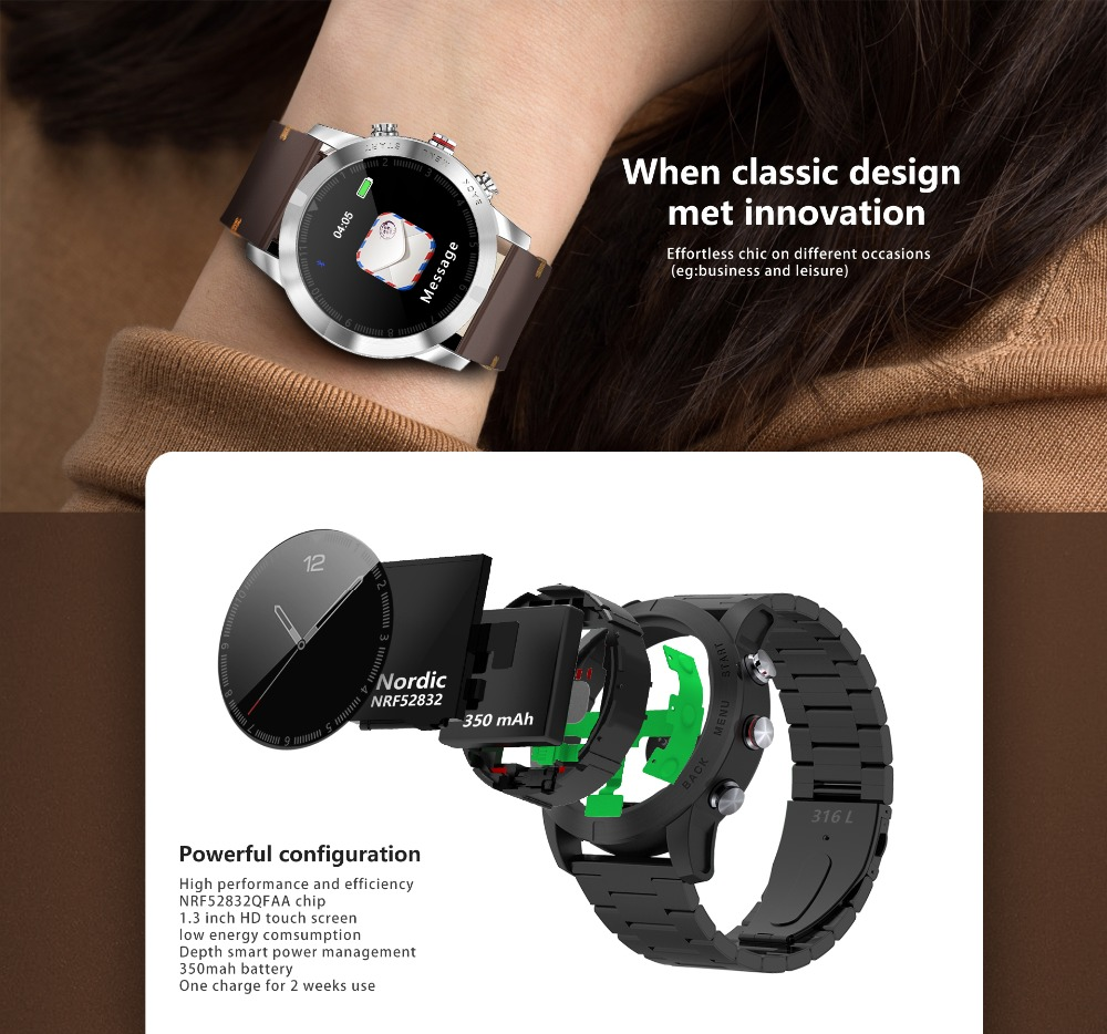 -3 Montre intelligente IP68 étanche Bluetooth 4.2