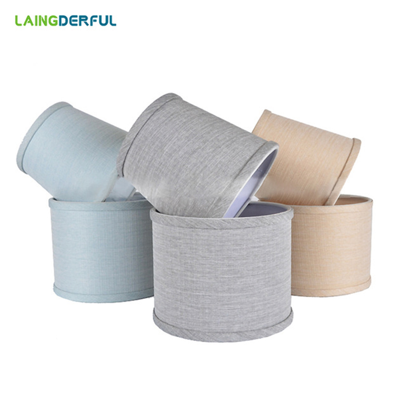 LAINGDERFUL PVC Lampshade Nordic Style Lamp Cover Linen Light Cover Chandelier Wall Lamp Shade for E14 Candle Lamps