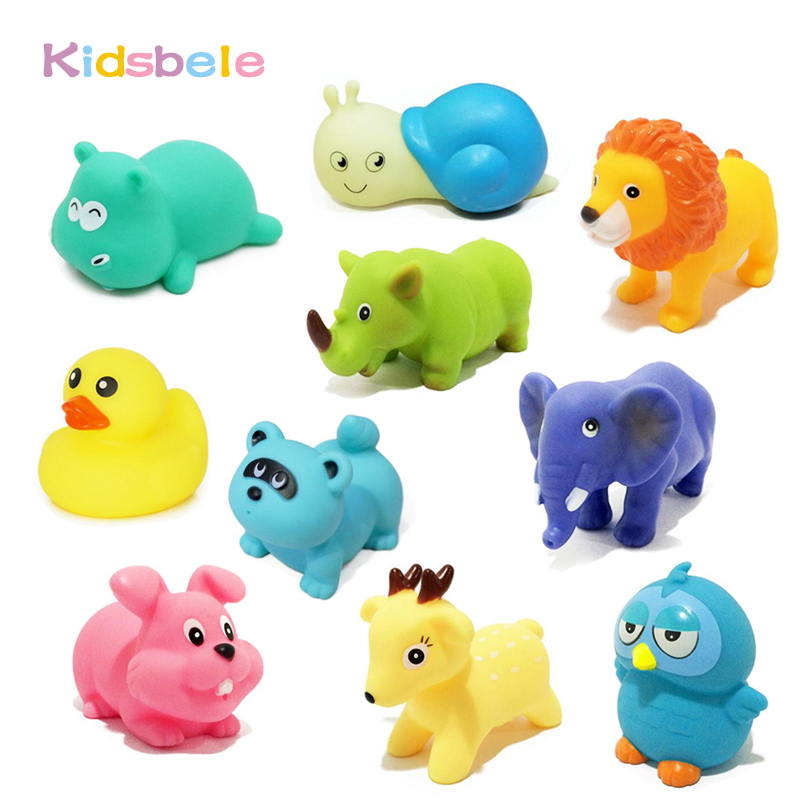 10PCS/Lot Bath Toys Squeeze Sound Soft Rubber Float Squeaky Toys All ...