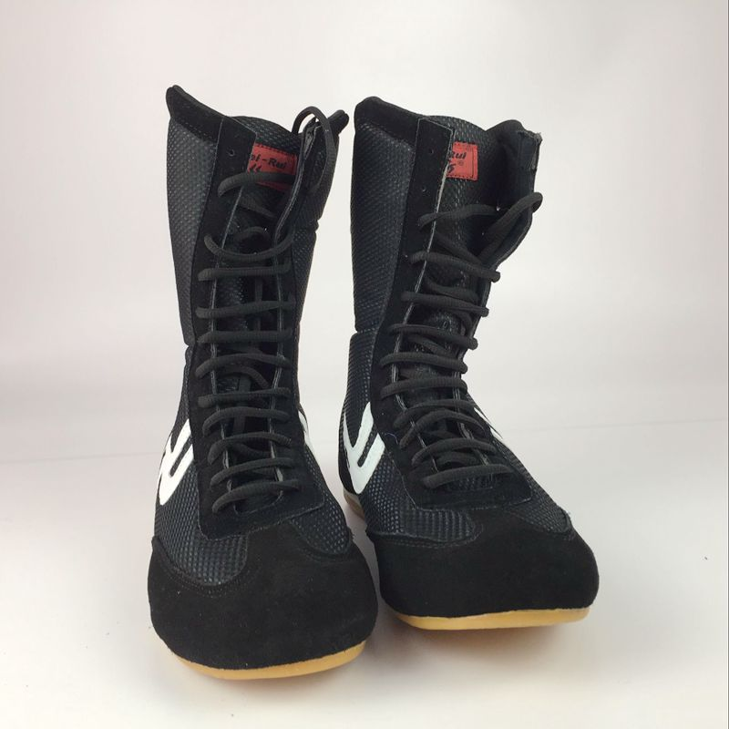 Boxing-Shoes Sport-Sneakers Martial-Art Professional Grappling Black Training MMA Men