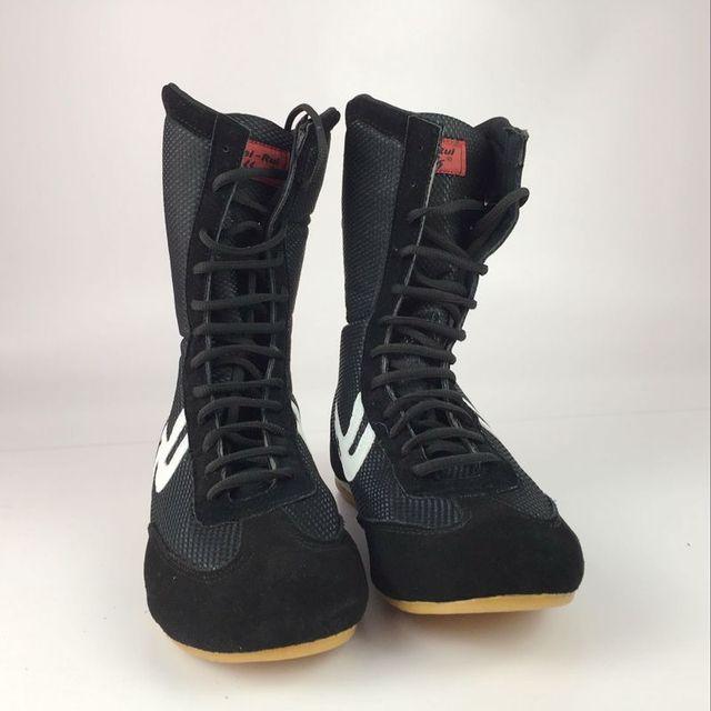 bbfb5ef3fdd9 Black Boxing Shoes Men Women Training Sport Sneakers Professional Martial  art MMA Grappling Boxing shoe