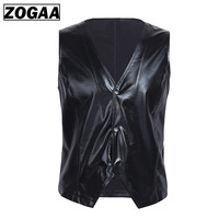 ZOGGA 3 Color Soft Leather Men Vest Tops Snap Buttons Shiny Sexy Waistcoat Jacket Nightclub Party Stage Vest Men Leisure Suits
