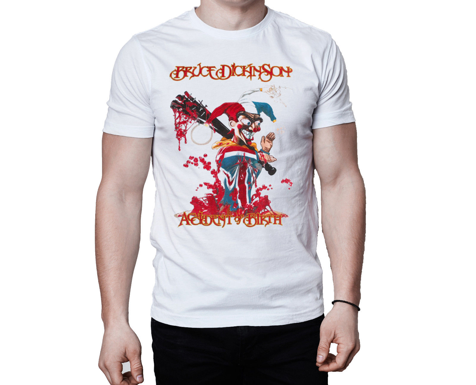 Брюс Дикинсон аварии рождения 1997 Обложка альбома белая футболка 2018 Лето Мужская брендовая одежда с круглым вырезом новая футболка