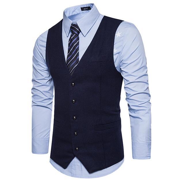 Men Vest 2018 High Grade Brand Male Waistcoat Classic Wool England Business Suit Vest Men Wedding Groom Groomsmen Singer Clothes