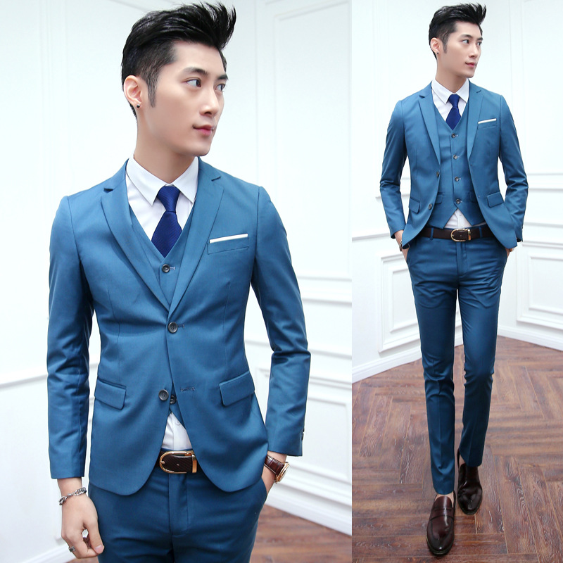Sky Blue Slim Fit 2016 Grooms Mens Tuxedos With Pants Two Buttons ...
