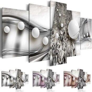 Cartel de imagen abstracta geométrica Modular 5 piezas bola blanca Cadena de plata lienzo pintura HD impresión hogar dormitorio decoración de pared arte
