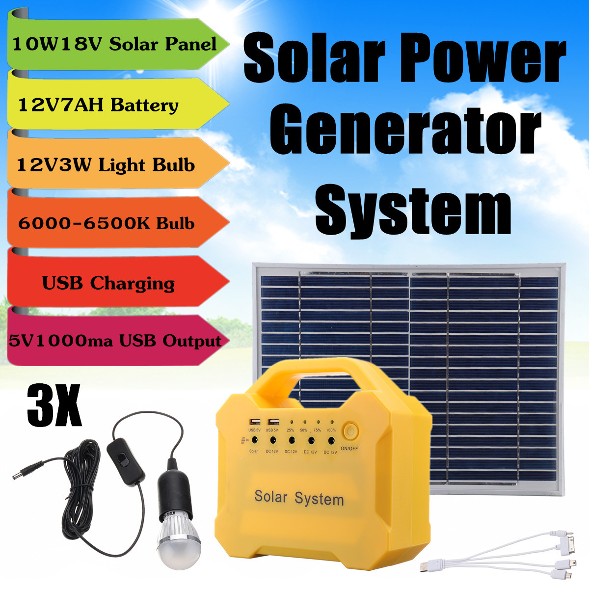 18V Solar Panel Power Storage Generator LED Light USB Charge System Home Outdoor Large Capacity Battery Energy Saving Camping hoox c02 magic stone series 6000mah polymer power bank dual usb quick charge energy saving green