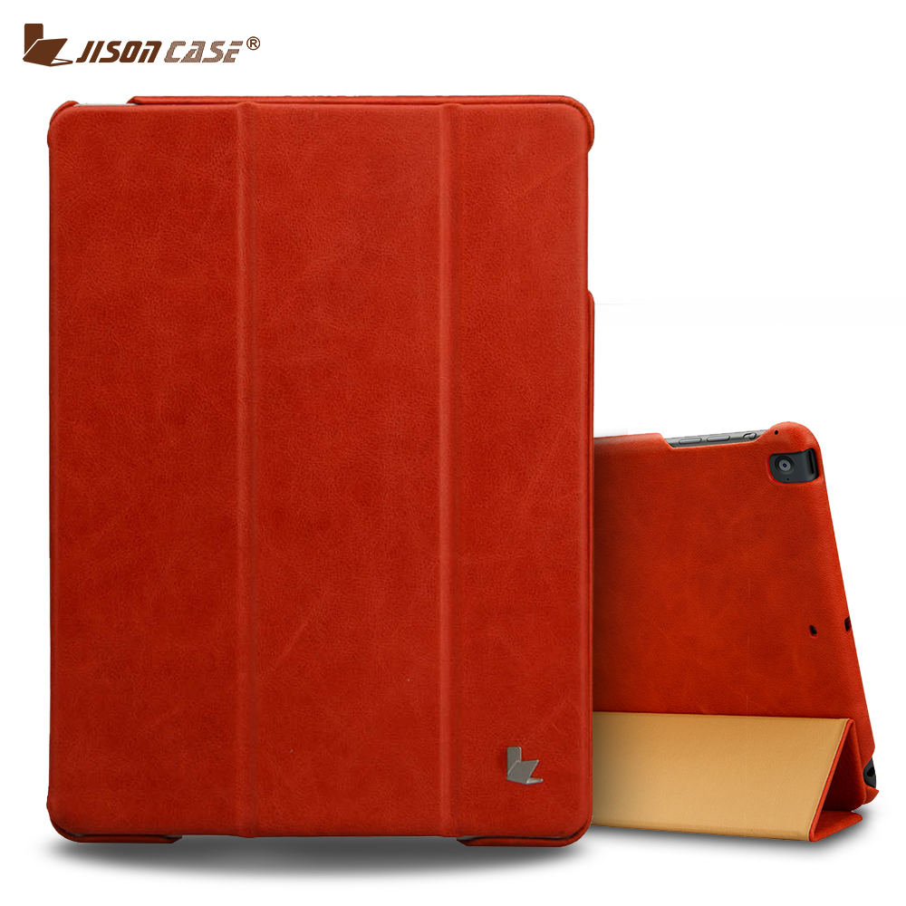 Jisoncase Smart Case for Apple iPad 9.7 inch 2017 Case Cover Genuine Leather Tablets Folding Magnet Flip Cover for iPad air 1 2