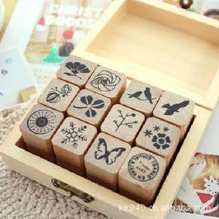 Free shipping DIY Scrapbooking Wood Stamps Decoration Creative chop lovely Nature Pattern Diary Stamps Set 12pcs/set chinese chronological stamps 2005 15 nature reserve a full set of 4 pieces to the sea unc free shipping