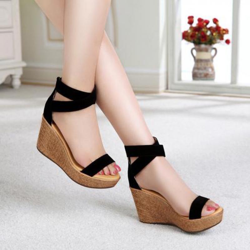Black 9cm High Heel Thick soled Platform Women Sandals Wedges High Gladiator Sandals