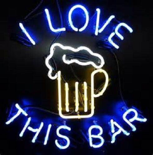 I Love This Bar Glass Neon Light Sign Beer Bar