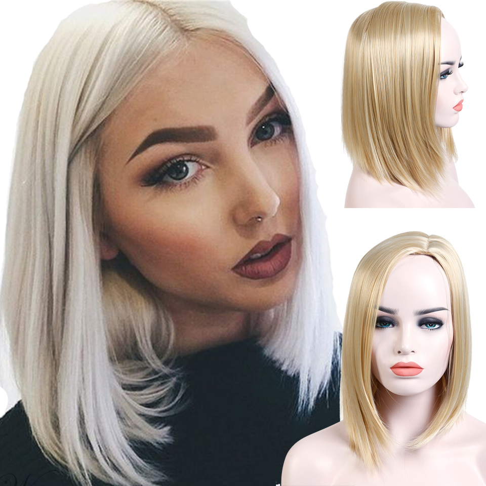 Allaosify Short Straight Bob Wigs for Women Synthetic Straight Blonde Wigs Heat Resistant Bob Hair