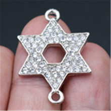 WKOUD 10pcs Antique Silver Handmade Rhinestone Charm Star of David Alloy Pendant Earrings Necklace DIY Jewelry Findings A679