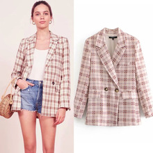 Spring Autumn Double Breasted Plaid Lapel Medium Long Small Suit  Womens Blazer Casual Long Sleeve Office Lady Jackets