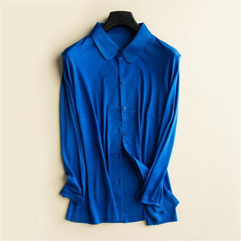 Femme printemps 93% Chemises en Soie femme automne surdimensionné Blouse en Soie dame respirant chemise en Soie femmes été Cardigan Soie Chemises