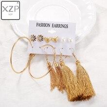 XZP New Design Tassel Drop Earrings Set For Women Girl 2019 Bohemian Gold Flower Long Earring Female Fashion Wedding Jewelry 02