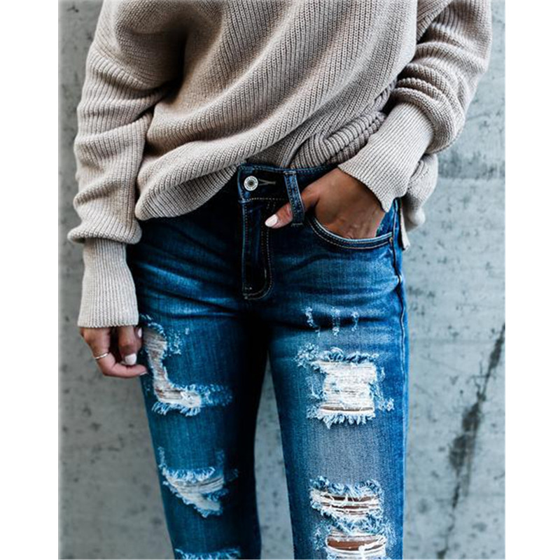 Casual Long Jeans Women Mid Waist Skinny Pencil Blue Denim Pants Ladies Ripped Hole Slim Fit Skinny Calca Jeans Boyfriend Jeans