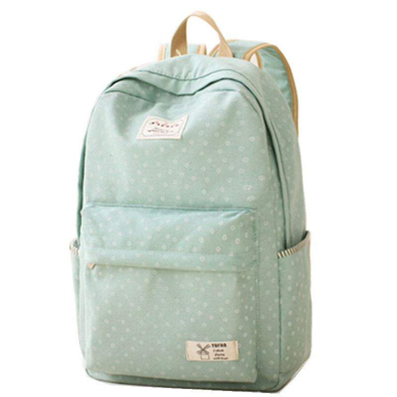 New 2016 Fashion Dot Design Backpacks for Teenage Girls School Bags Green Blue Color Canvas Backpack