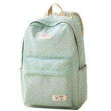 Новый 2016 мода точка дизайн рюкзаки для девочек-подростков школьные сумки зеленый и синий цвет холст рюкзак Mochilas печать мешок