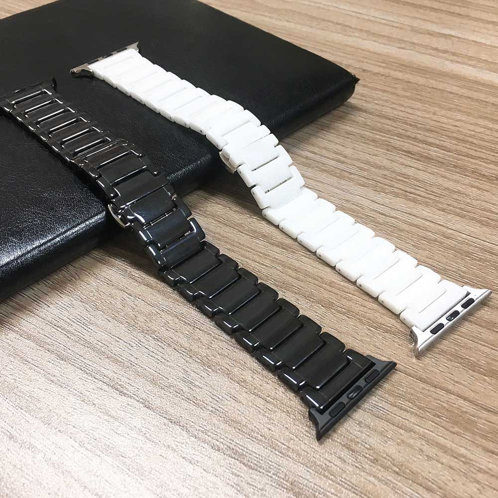 Black/White Ceramics Strap For Apple Watch 4 Series 4 3 2 1 Band 40/44/38/42mm Bracelet For IWatch WristBand Clock Belt