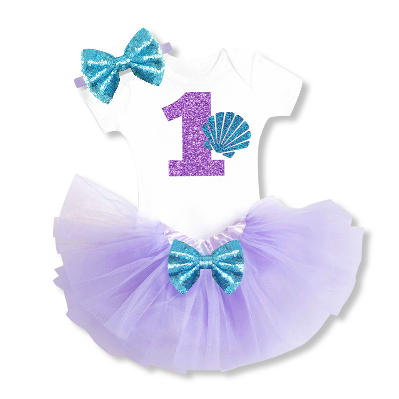 Baby Little Mermaid Halloween Costume Infant Clothing Sets Tutu 1 Years Birthday Clothes Outfits Wear Baby Purple Dress