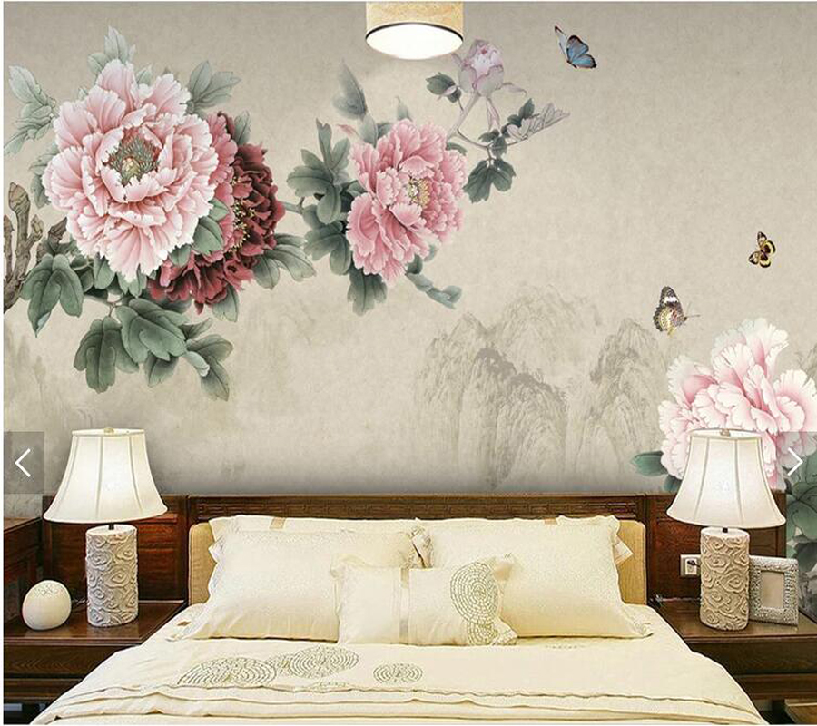 Custom Peony Wallpaper Peony And Butterfly Oil Painting