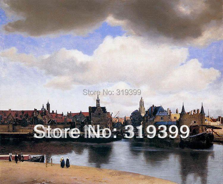 Reprodukce olejomalby na plátně, Pohled na Delfta Johannesem Vermeerem, Doprava DHL zdarma, 100% ruční práce, kvalita muzea