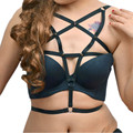 New sexy goth dress lingerie elastic rivets spiked harness cage bra hollow out pentagram bondage body harness belt women corset