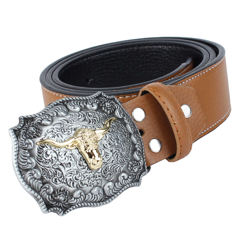 Rodeo Bull Head Arabesque Cowboy Belt Leather Strap For Men Women Black Buckle Jeans Casual Business Belt