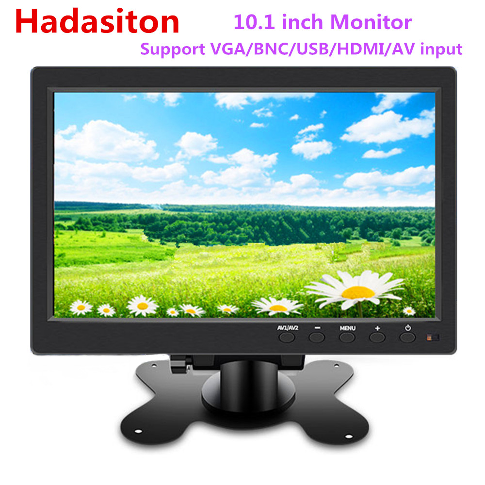 "10.1"" HD 1024*600 LCD monitor Car monitor MP5 player Home security monitor PC/TV Display Support VGA/BNC/USB/HDMI/AV input(China)"